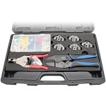 Aven 10171-KIT Deluxe Crimping Tool Kit (Frame, 5 Dies, Wire Stripper & 148-pc Connector Set)