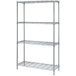 Quantum Storage Systems RWR72-2448LD 4-Shelf Wire Shelving Unit (Single Box Shipment, 24